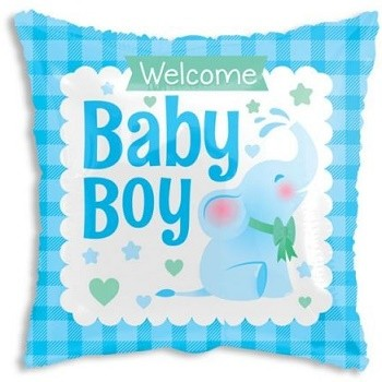 Palloncino Mylar 45 cm. Square Baby Boy Little Elephant