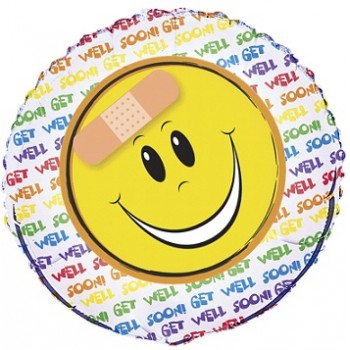 Palloncino Mylar 45 cm. Get Well Happy Face