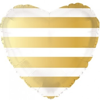 Palloncino Mylar 45 cm. Gold Striped Heart