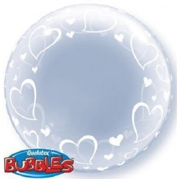 Palloncino Bubble Stylish Hearts 61 cm.