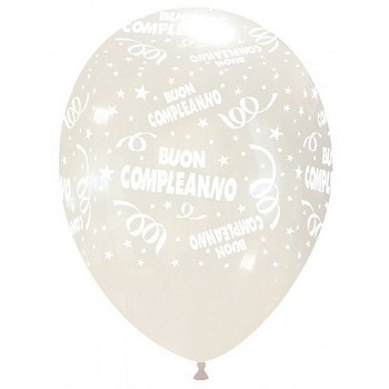 Palloncino in Lattice Rotondo 30 cm. Stampa Buon Compleanno Trasparente