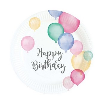 Piatti carta 18 cm Happy Birthday 8 pz