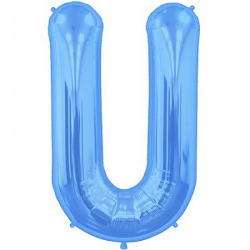 Palloncino Mylar Lettera U Maxi - 86 cm. Blu