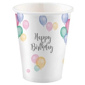 Bicchieri carta 250 ml Happy Birthday 8 pz.