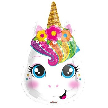 Palloncino Mylar 45 cm. Unicorn Face Shape