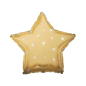 Palloncino Mylar 45 cm. Antique Gold Sparkle Star
