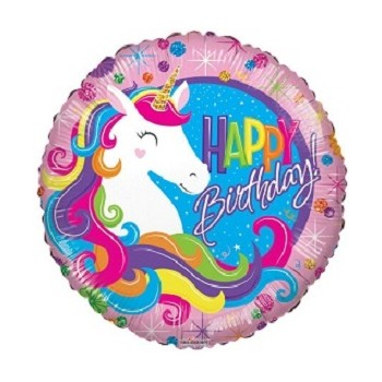Palloncino Mylar 45 cm. Birthday Classic Unicorn