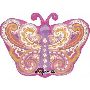 Palloncino Mylar 45 cm. Junior Shape Paisley Pink Butterfly