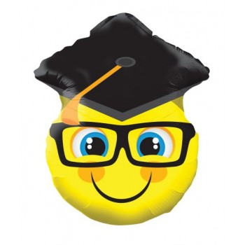 Palloncino Mylar 45 cm. Smiley With Grad Cap Shape