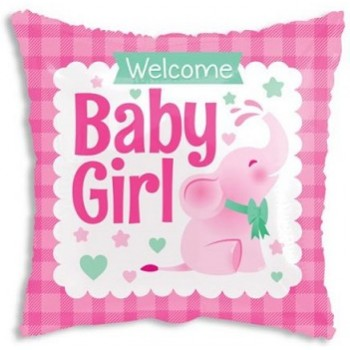 Palloncino Mylar 45 cm. Square Baby Girl Little Elephant