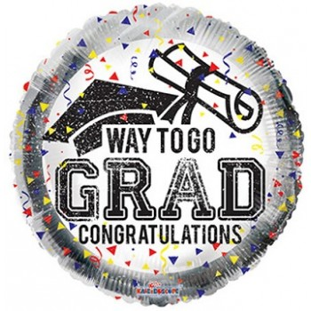 Palloncino Mylar 45 cm. Way To Go Grad Confetti