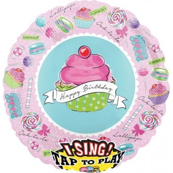 Palloncino Mylar Musicale 71 cm. Happy Birthaday To Yoy - cupcake