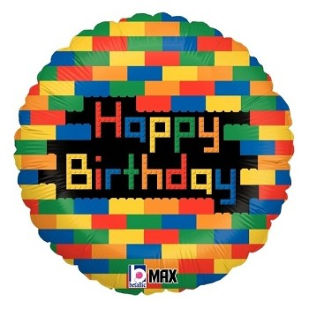 Palloncino Mylar 45 cm. Birthday Blocks Lego