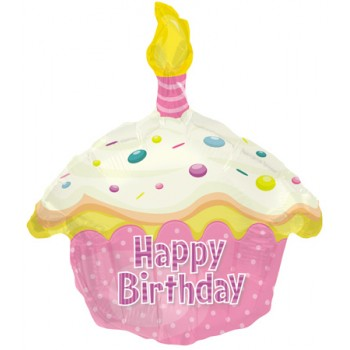 Palloncino Mylar 45 cm. Birthday Pink Cupcake Shape
